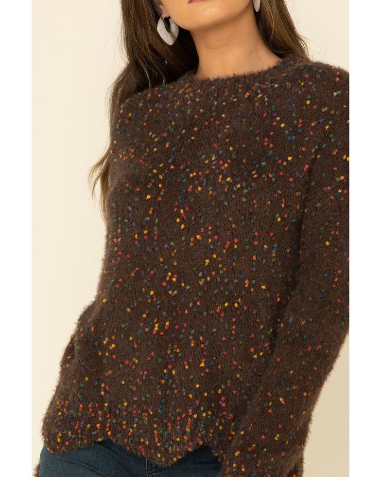 Mystree Women's Chocolate Rainbow Popcorn Pullover Sweater , Brown, hi-res