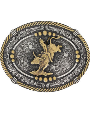 Montana Silversmiths Men's Silver and Gold Rope Bull Rider Belt Buckle , Silver, hi-res