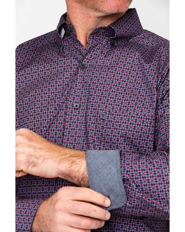 Tuf Cooper Men's Multi Stretch Poplin Print Long Sleeve Western Shirt , Multi, hi-res