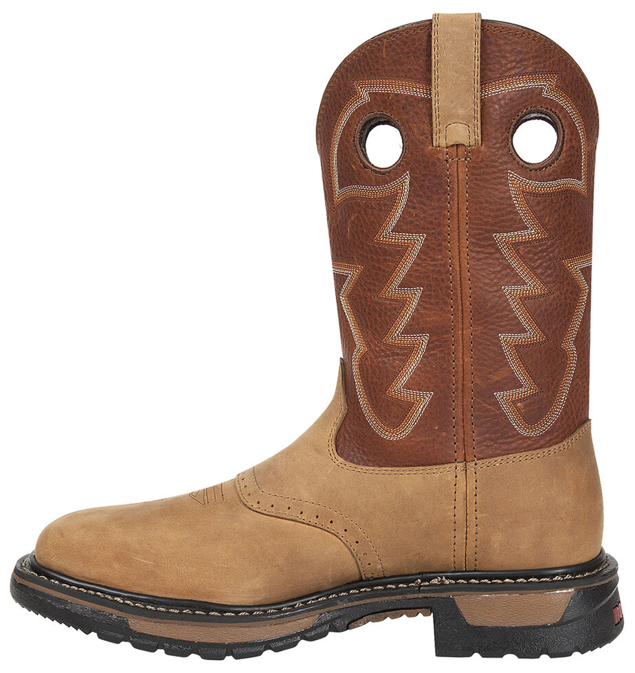 Rocky Men's Original Ride Waterproof Western Boots - Steel Toe, Tan, hi-res