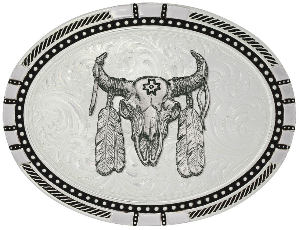 Montana Silversmiths New Traditions Four Directions Ceremonial Buffalo Skull Belt Buckle, Silver, hi-res