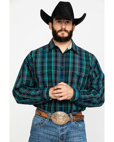 Panhandle Select Men's Multi Small Poplin Plaid Long Sleeve Western Shirt , Forest Green, hi-res