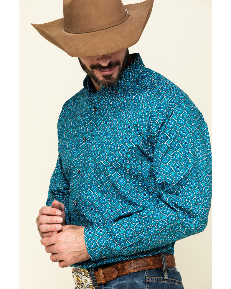 Tuf Cooper Men's Blue Circle Geo Print Long Sleeve Western Shirt , Turquoise, hi-res