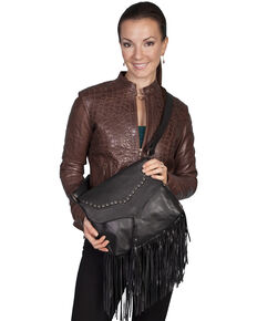 Scully Black Studded Fringe Shoulder Bag, Black, hi-res