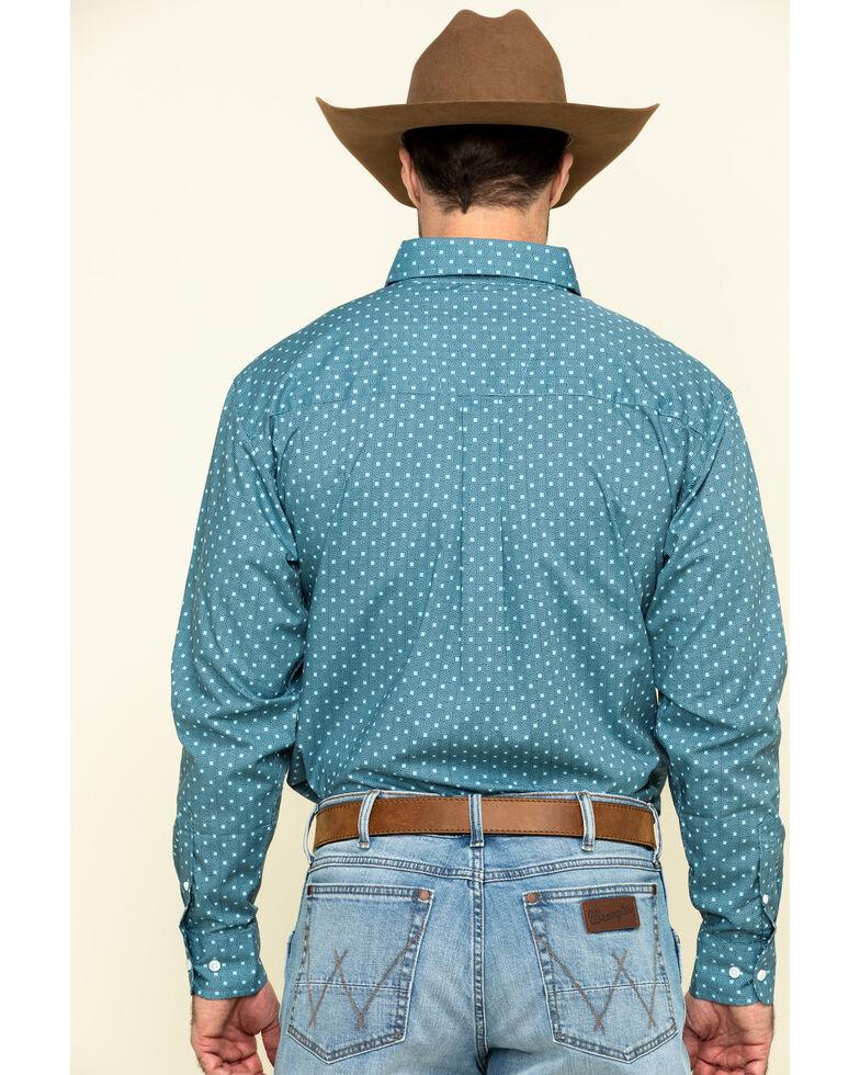 Wrangler Men's Classic Teal Square Geo Print Long Sleeve Western Shirt - Big , Teal, hi-res