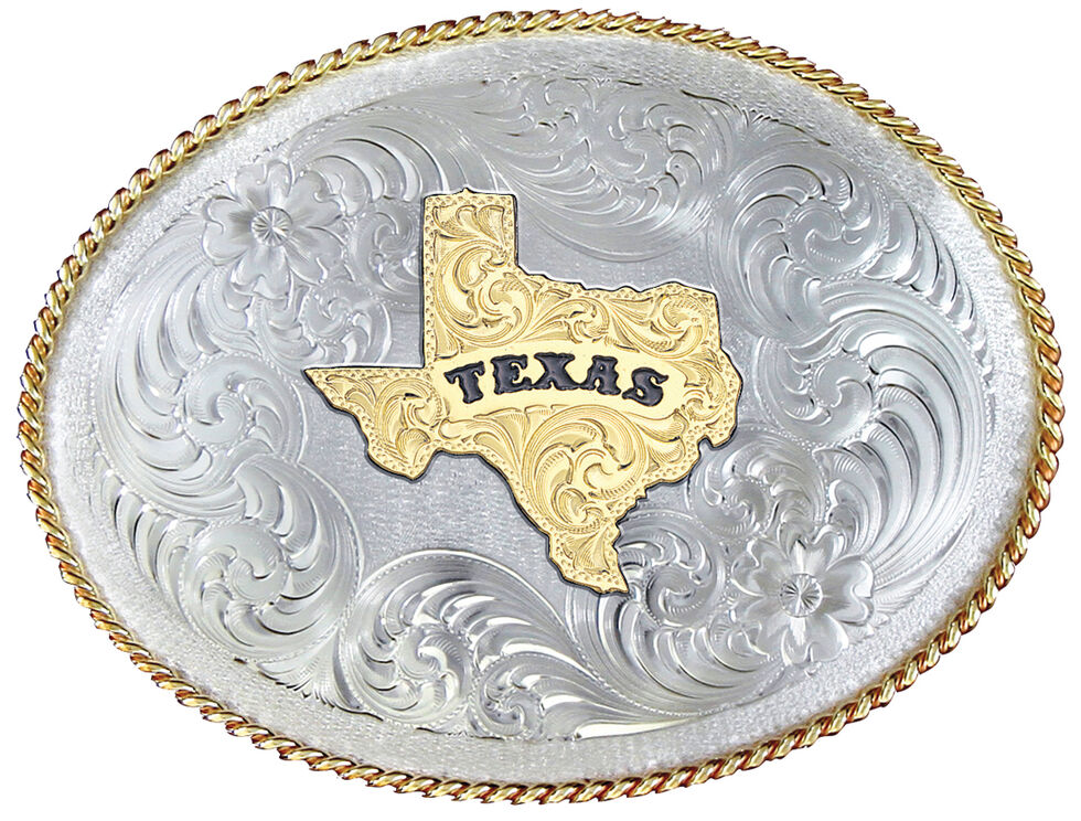 Montana Silversmiths 1350 Series German Silver State of Texas Belt Buckle , Multi, hi-res
