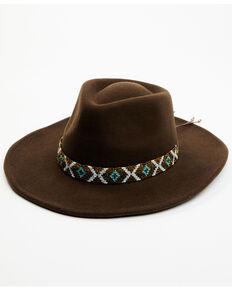 Nikki Beach Women's Big Sky Wool Felt Western Hat , Brown, hi-res