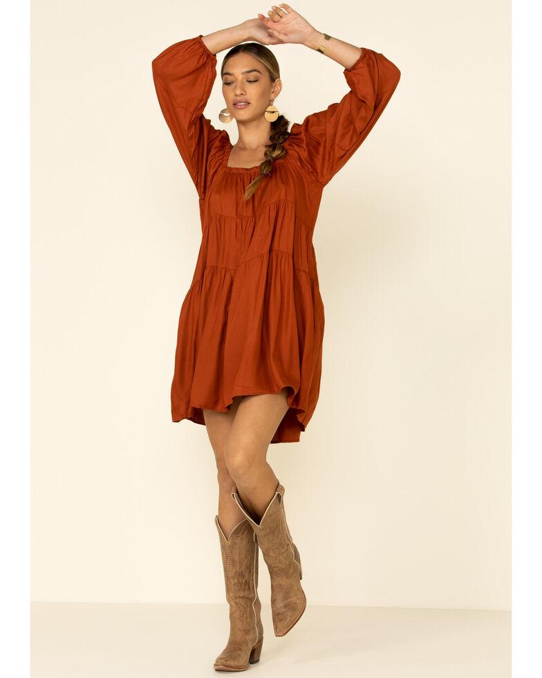 Nostalgia Women's Rust Copper Tiered Peasant Dress , Rust Copper, hi-res
