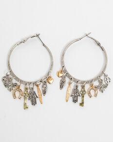 Shyanne Women's Charm Hoop Earrings, Silver, hi-res