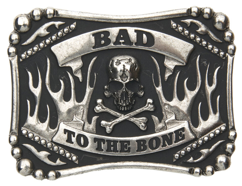 AndWest Men's Bad to the Bone Belt Buckle, Silver, hi-res