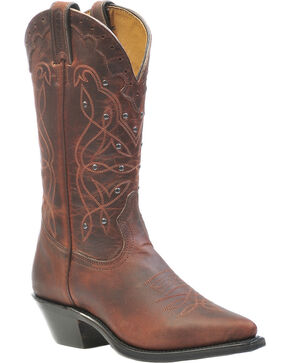 Boulet Studded Laid Back Copper Cowgirl Boots - Pointed Toe, Copper, hi-res