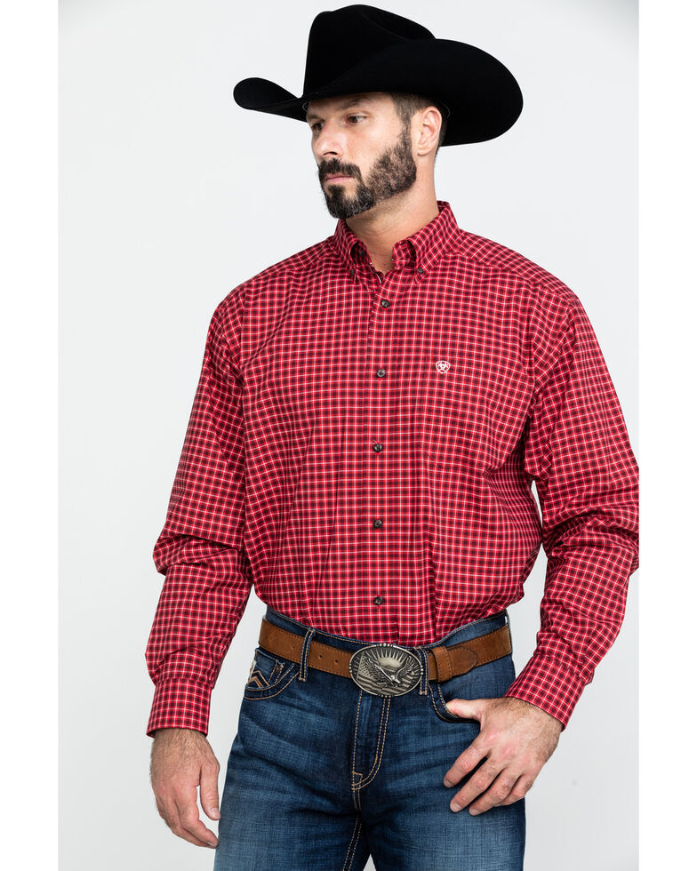 Ariat Men's Dahlsten Stretch Plaid Long Sleeve Western Shirt , Burgundy, hi-res