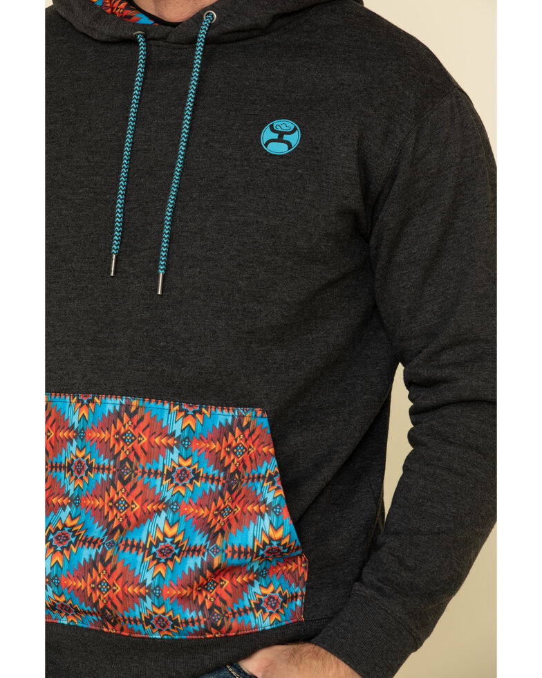 HOOey Men's Dark Grey Aztec Phoenix Hooded Sweatshirt , Dark Grey, hi-res