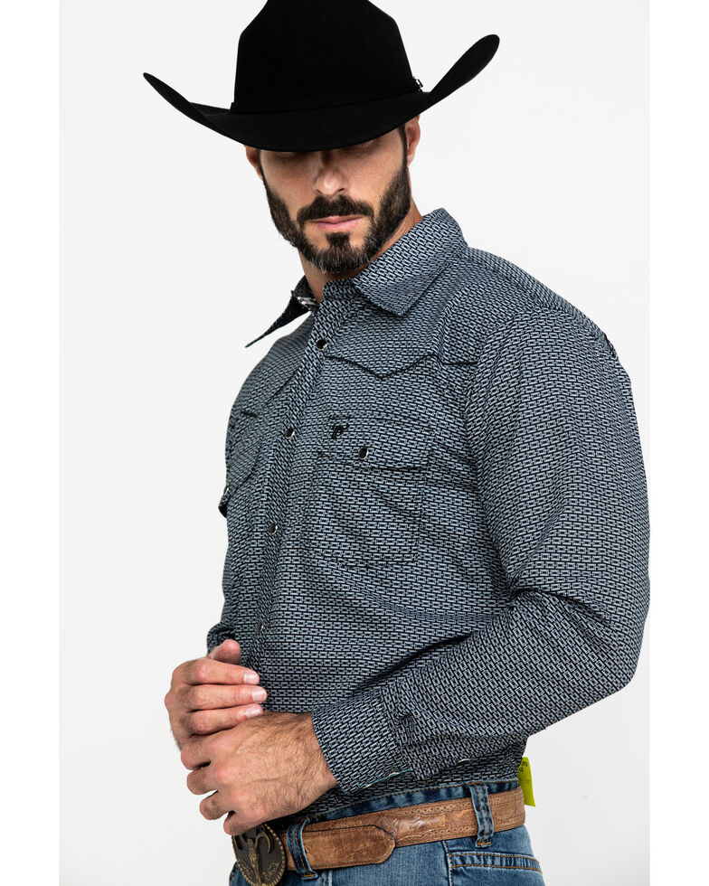 Cowboy Hardware Men's Brick Line Geo Print Long Sleeve Western Shirt , Black, hi-res