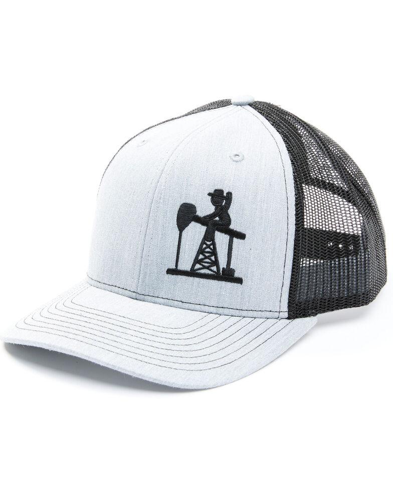 Oil Field Hats Men's Grey & Black Offset Embroidered Logo Mesh-Back Ball Cap , Grey, hi-res