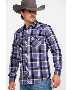 Wrangler Retro Men's Purple Large Plaid Long Sleeve Western Shirt , Black/purple, hi-res