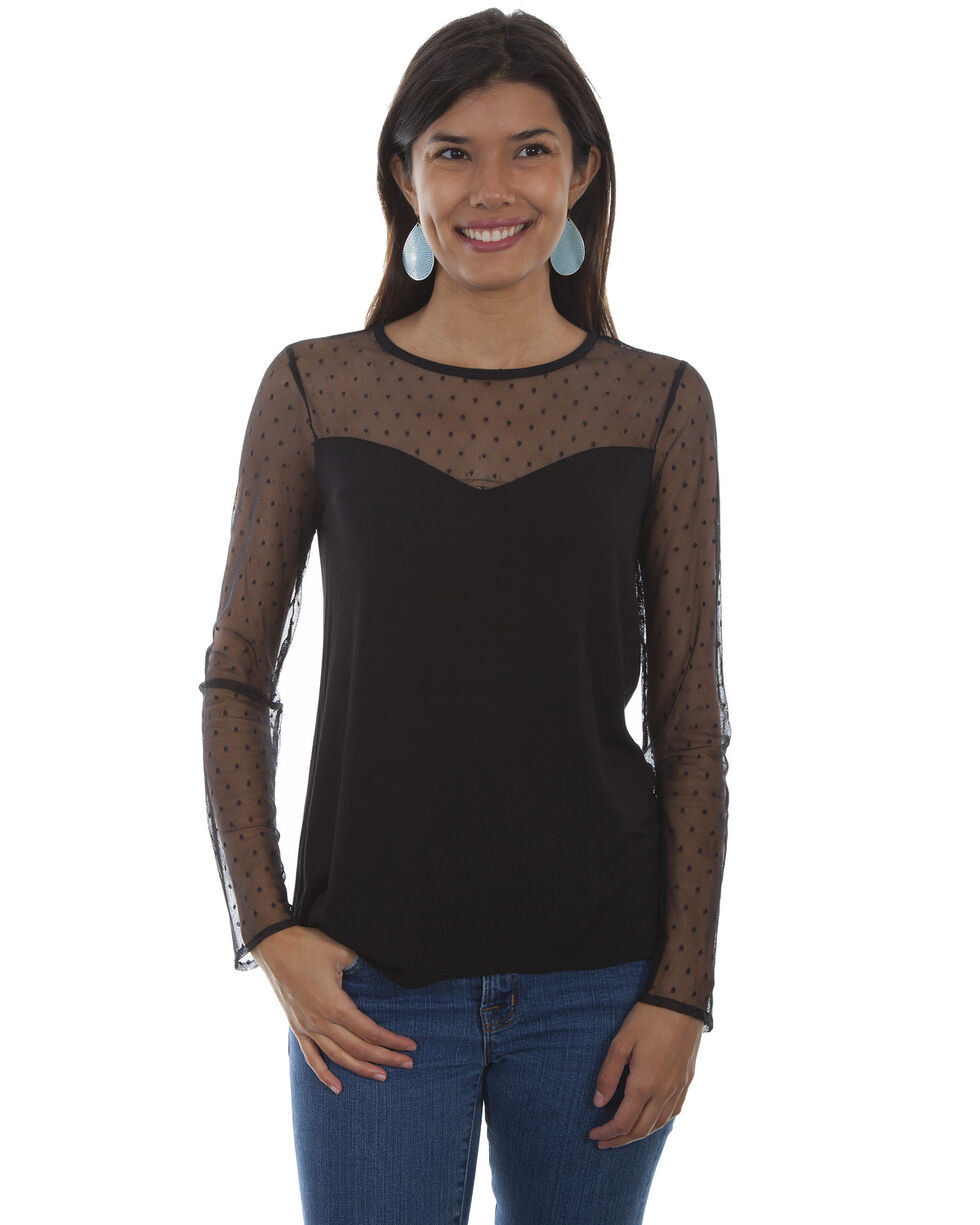 Honey Creek by Scully Women's Black Swiss Dot Sweetheart Top, Black, hi-res
