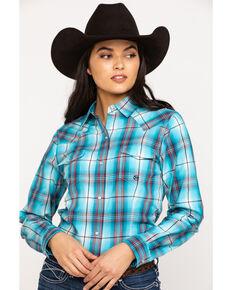 Roper Women's Blue Plaid Long Sleeve Western Shirt, Blue, hi-res