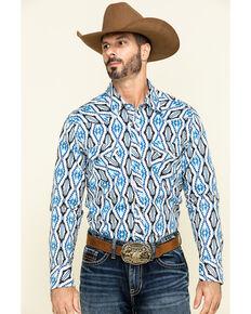 Rock & Roll Cowboy Men's White Aztec Print Long Sleeve Western Shirt , Blue, hi-res