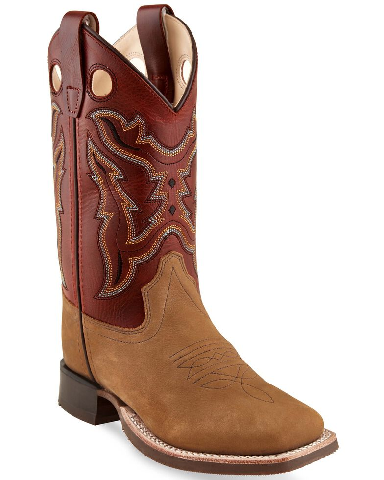 Old West Girls' Tan Western Boots - Square Toe, Tan, hi-res