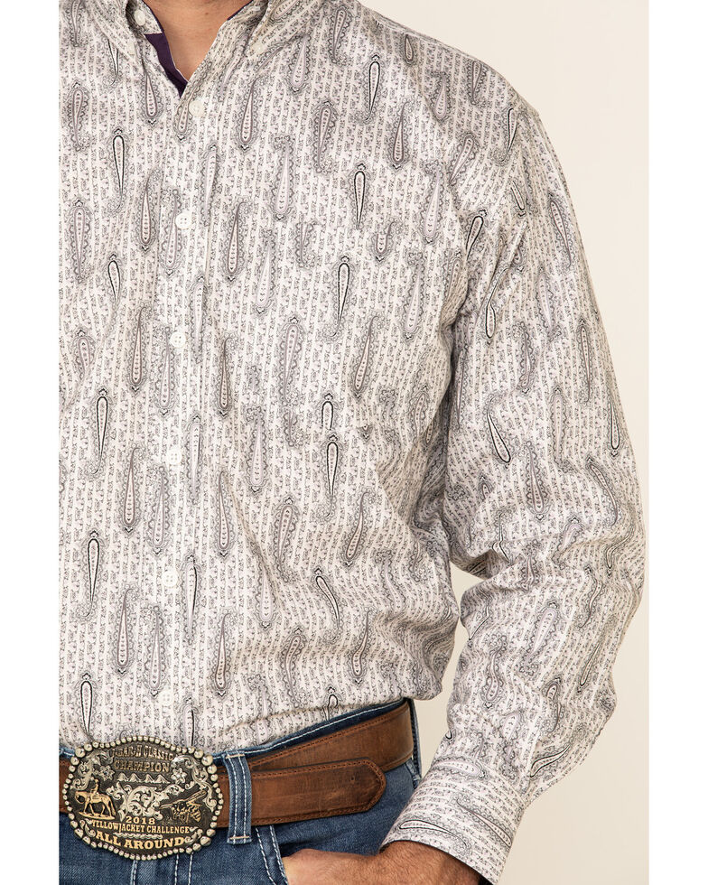 Resistol Men's White Dayton Small Paisley Print Long Sleeve Western Shirt , White, hi-res