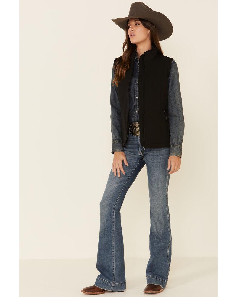 Roper Women's Black Softshell Bonded Fleece Lined Vest, Black, hi-res