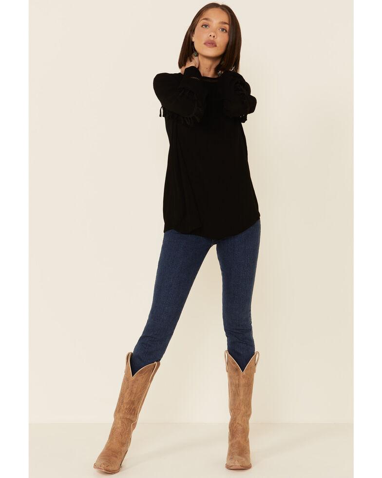 Wishlist Women's Black Tassle Trim Long Sleeve Top , Black, hi-res