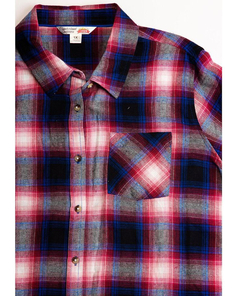 Cumberland Outfitters Women's Plaid Flannel Tunic, Black/red, hi-res