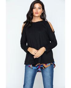 Cowgirl Up Women's Cold Shoulder Print Back Top, Black, hi-res