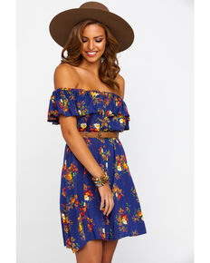 Rock & Roll Cowgirl Women's Off The Shoulder Button Down Floral Dress, Navy, hi-res