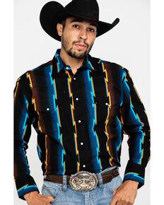Wrangler Men's Black Checotah Striped Long Sleeve Western Shirt , Black, hi-res