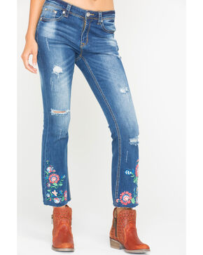 Grace in LA Women's Floral Embroidered Cropped Boot Cut Jeans, Blue, hi-res