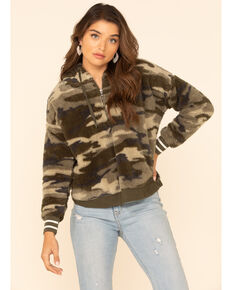 PJ Salvage Women's Olive Camo Fuzzy Thermal Hooded Pullover , Olive, hi-res