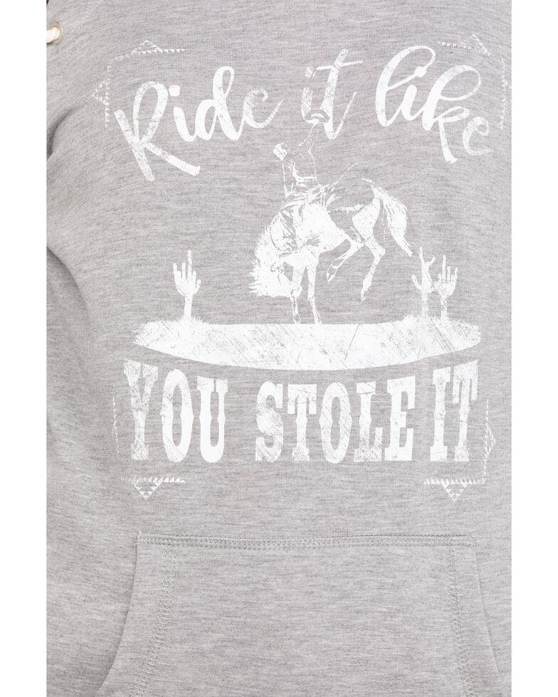 Rock & Roll Cowgirl Women's Grey Ride It Like You Stole It Hoodie, Grey, hi-res