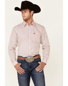 Cowboy Hardware Men's Red Basket Weave Print Long Sleeve Button-Down Western Shirt, Red, hi-res