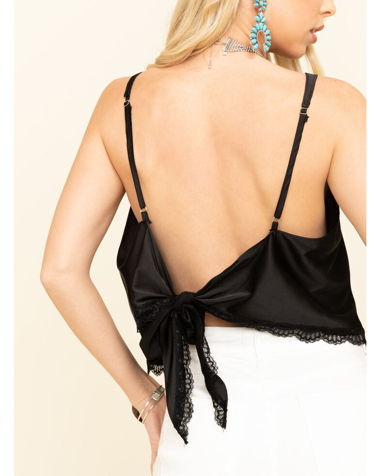 POL Women's Solid Tie-Back Tank Top, Black, hi-res