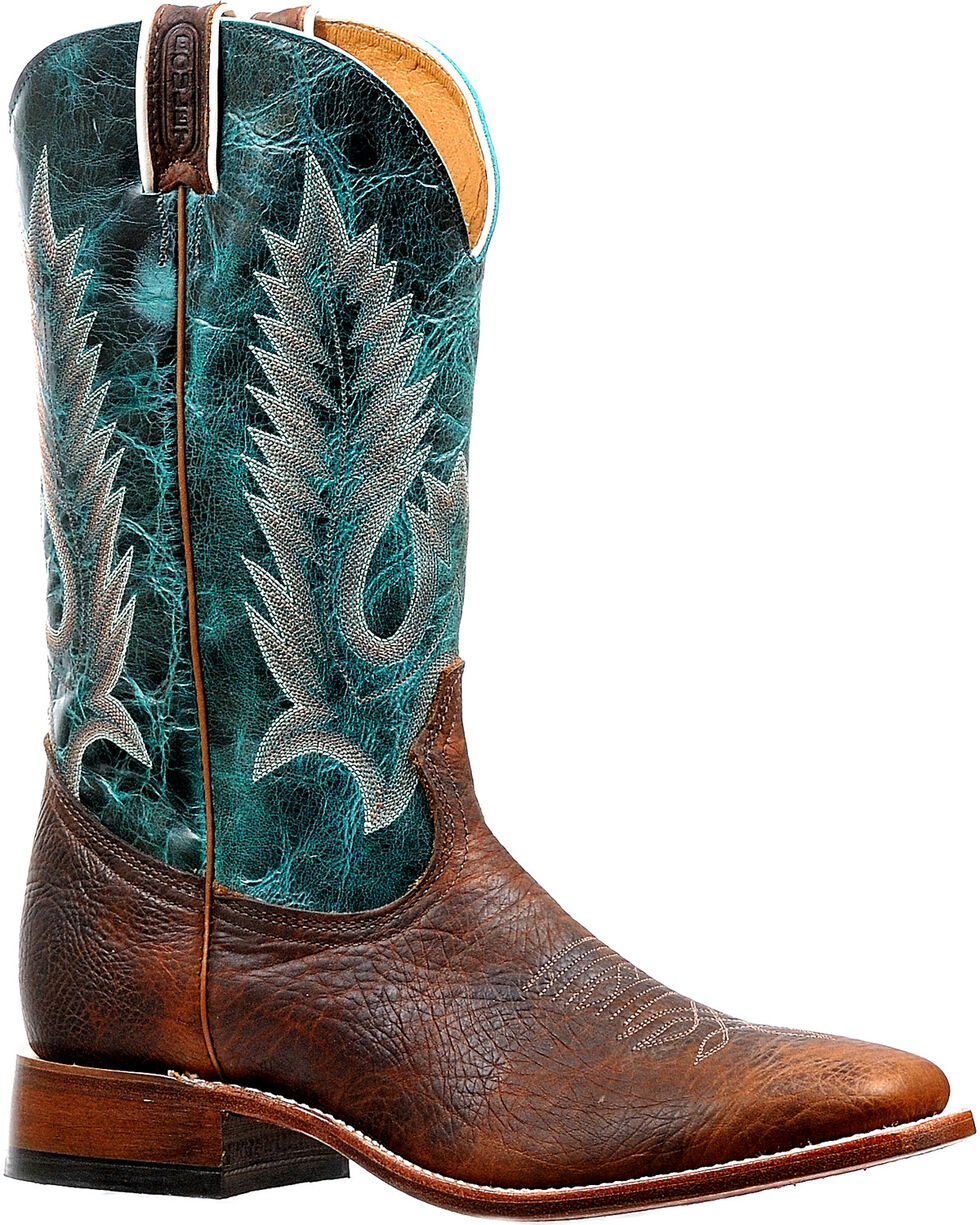 Boulet Men's Brown/Turquoise Stockman Cowboy Boots - Square Toe, Brown, hi-res