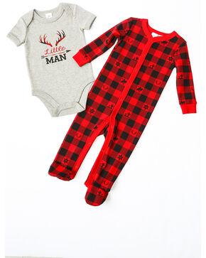 Cody James Infant Boys' Little Man Plaid Knit Onesie Set , Red, hi-res