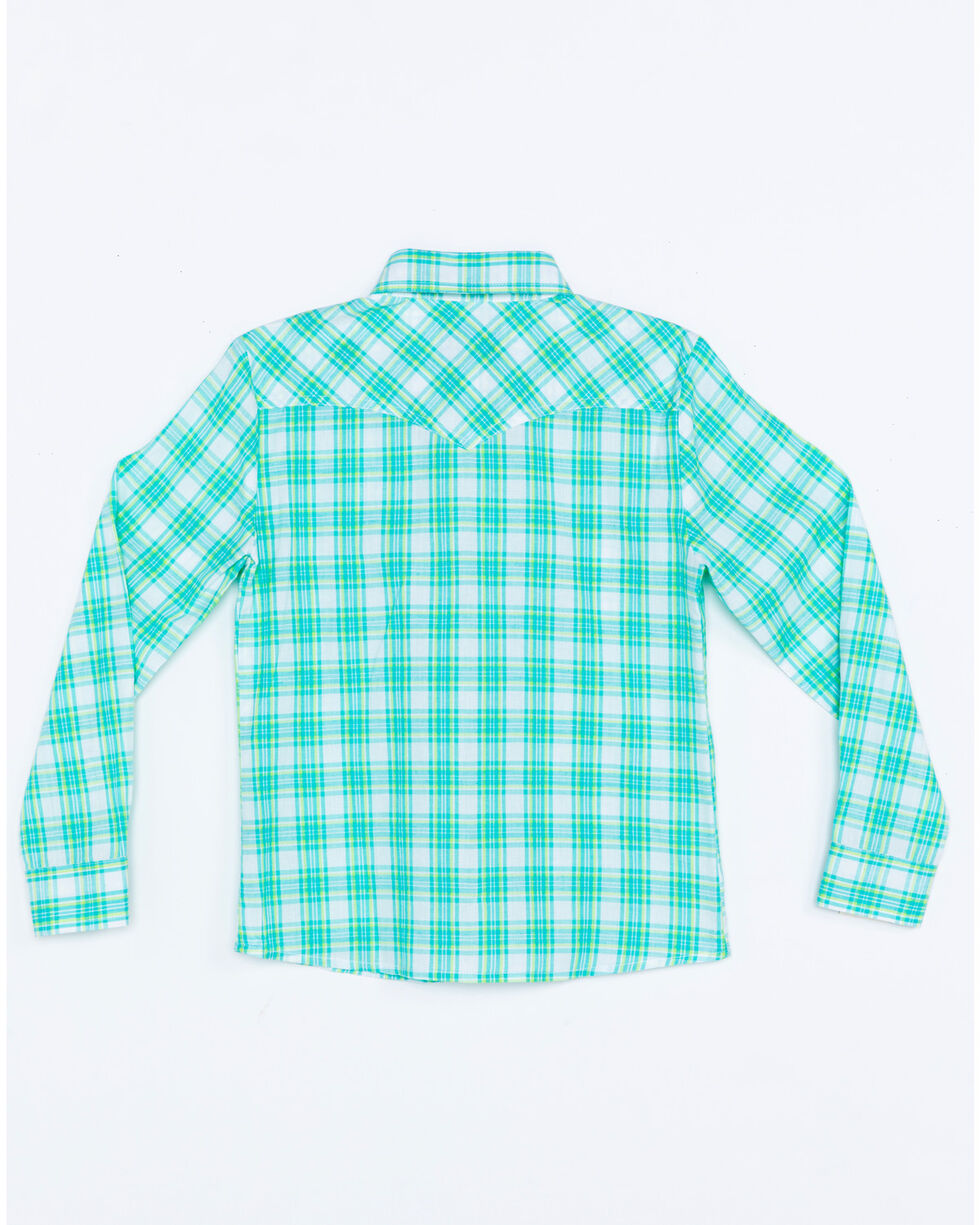 Panhandle Girls' Med Plaid Long Sleeve Western Shirt , Turquoise, hi-res