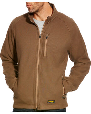 Ariat Men's Brown Rebar Duratek Fleece Jacket - Tall, Olive, hi-res