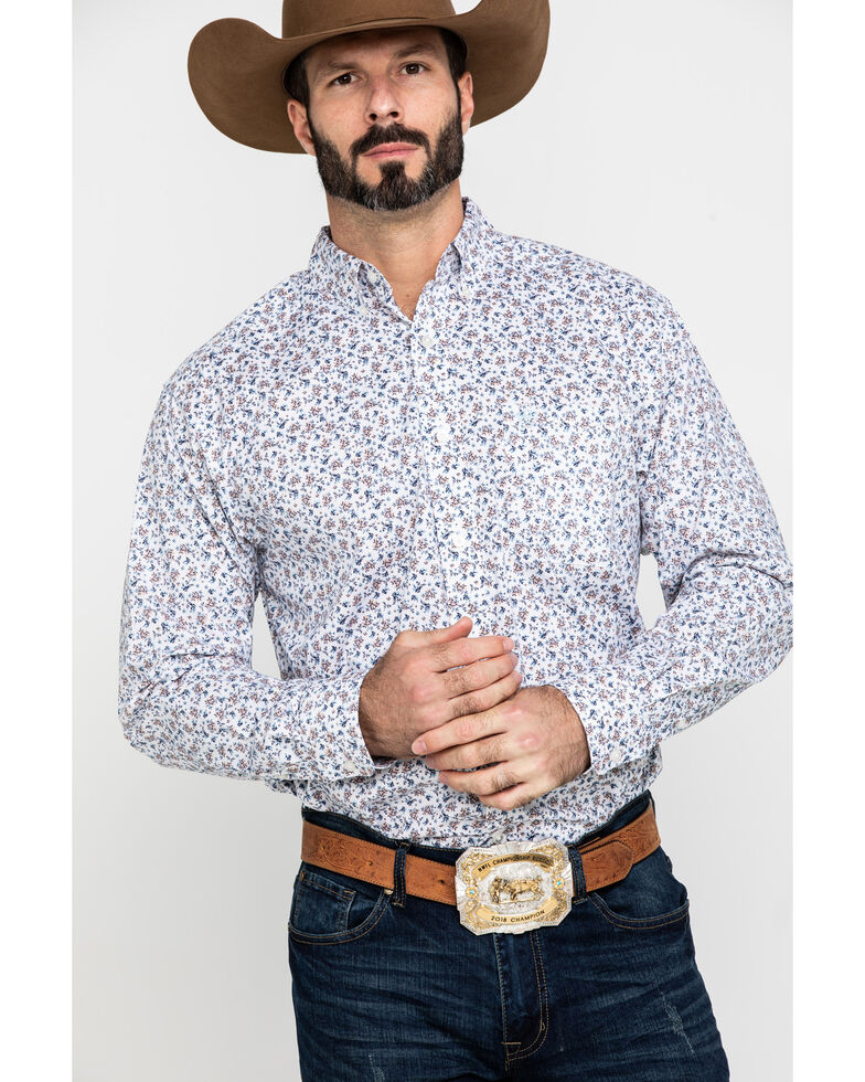 Ariat Men's Lafayette Floral Geo Print Long Sleeve Western Shirt - Big , White, hi-res