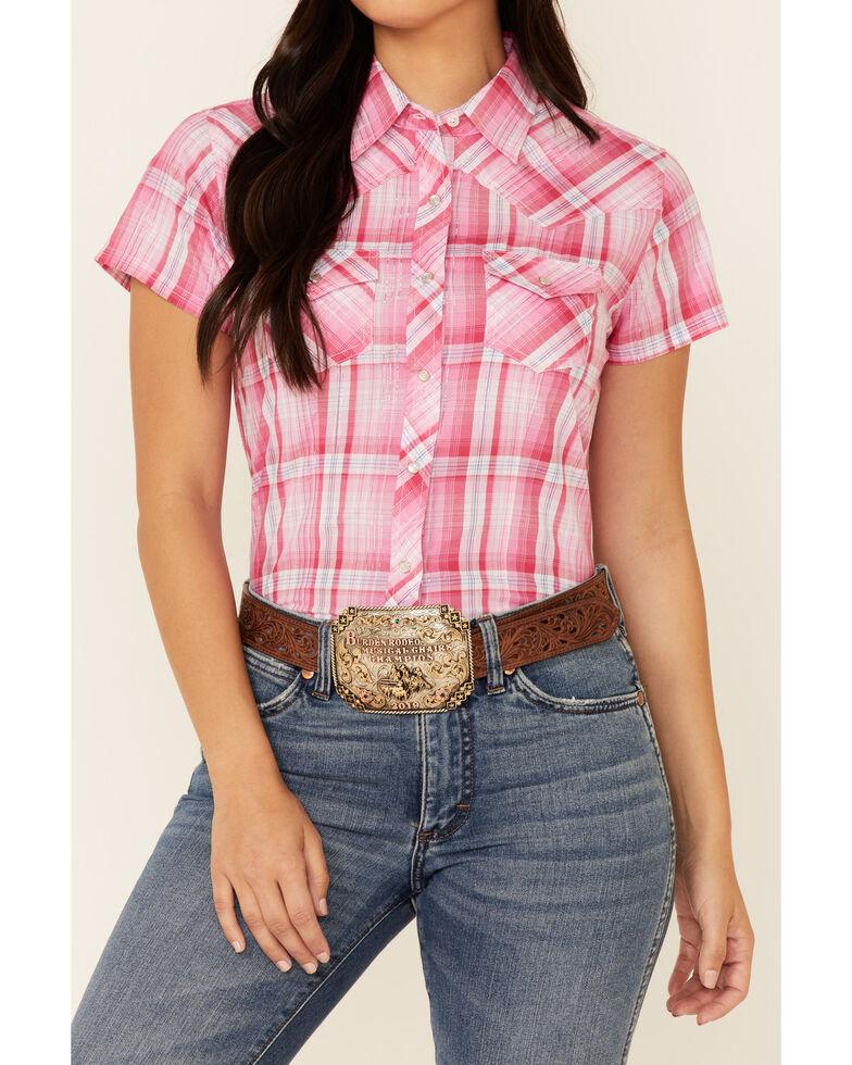 Ely Walker Women's Pink Lurex Plaid Short Sleeve Snap Western Shirt , Pink, hi-res