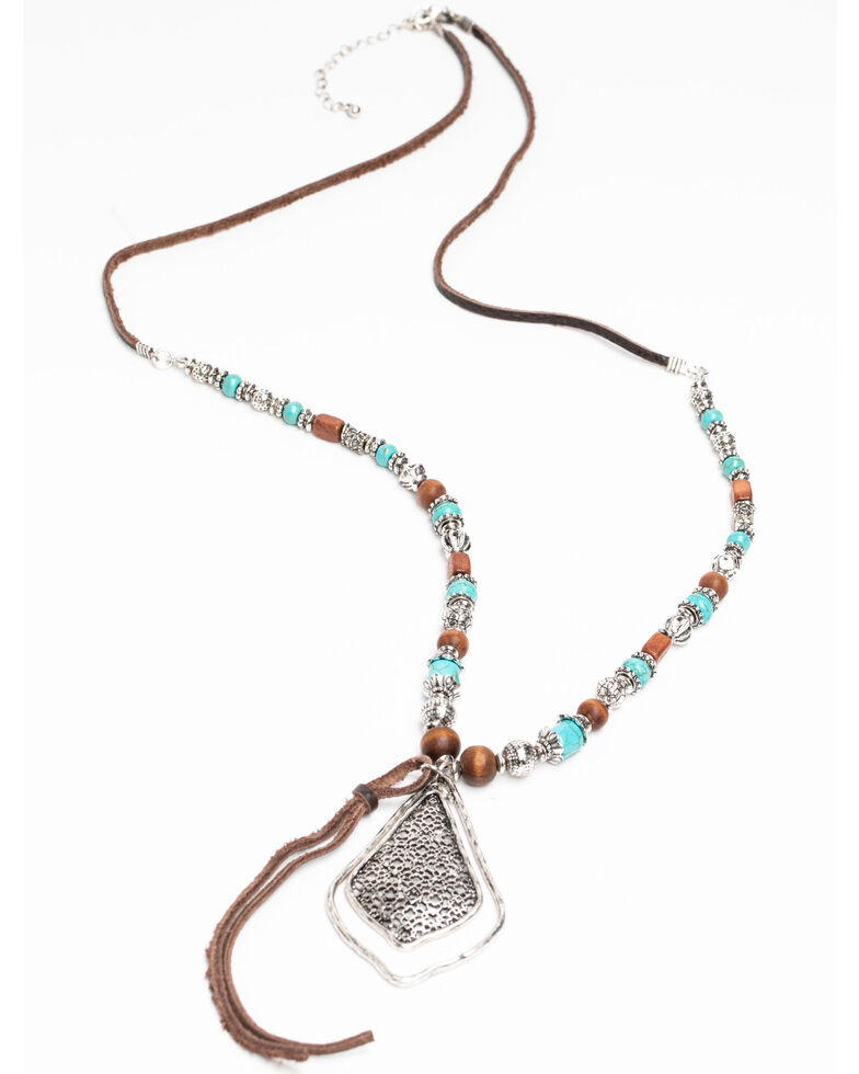 Shyanne Women's Hidden Treasure Jade Stone Beaded Leather Necklace, Silver, hi-res