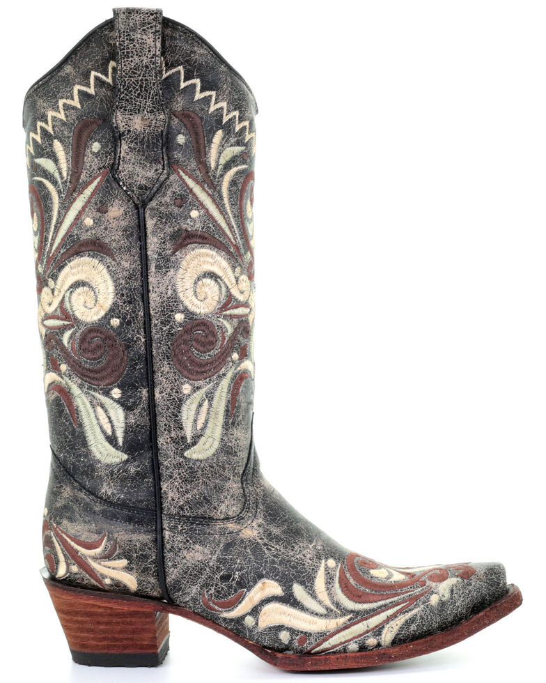 Circle G Women's Distressed Leather Western Boots - Snip Toe, Black, hi-res