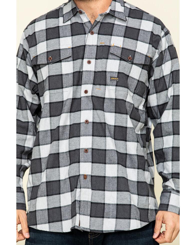 Ariat Men's Grey Heather Rebar Flannel Durastretch Plaid Long Sleeve Work Shirt , Grey, hi-res