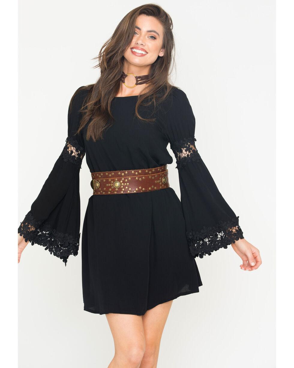 Blush Noir Women's Black Flared Sleeve Dress , Black, hi-res