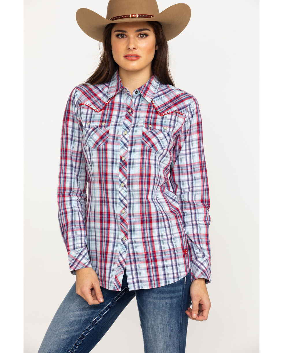 Ariat Women's Blue Plaid Real Vibrant Snap Long Sleeve Western Shirt , Multi, hi-res