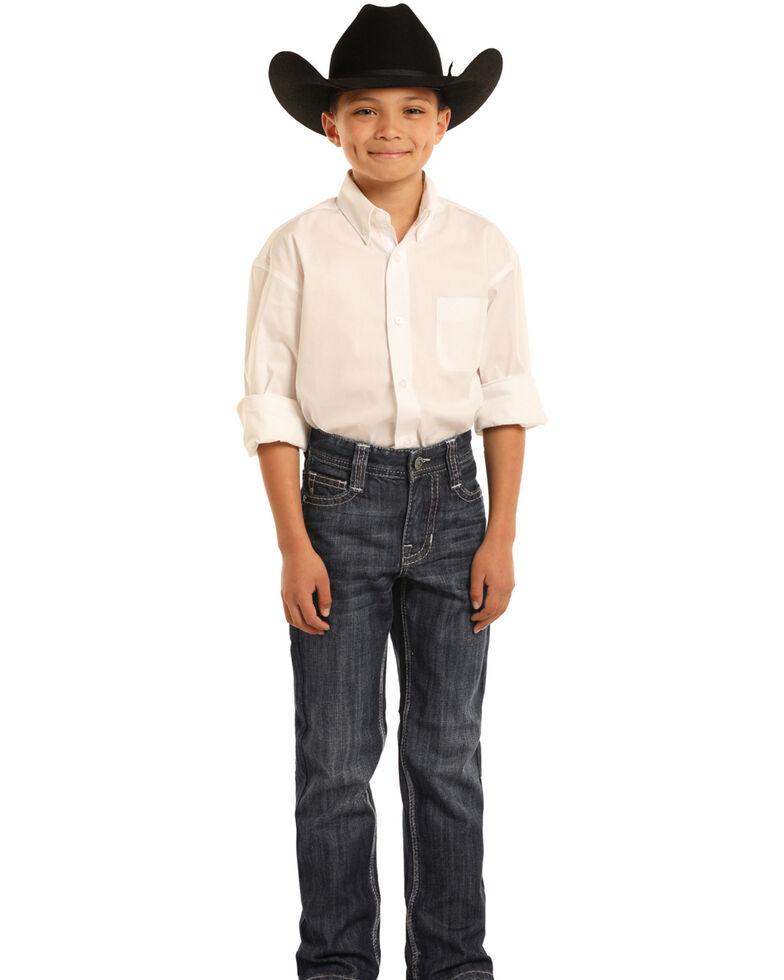 Rock & Roll Cowboy Boys' BB Gun Dark Vintage Bootcut Jeans , Blue, hi-res