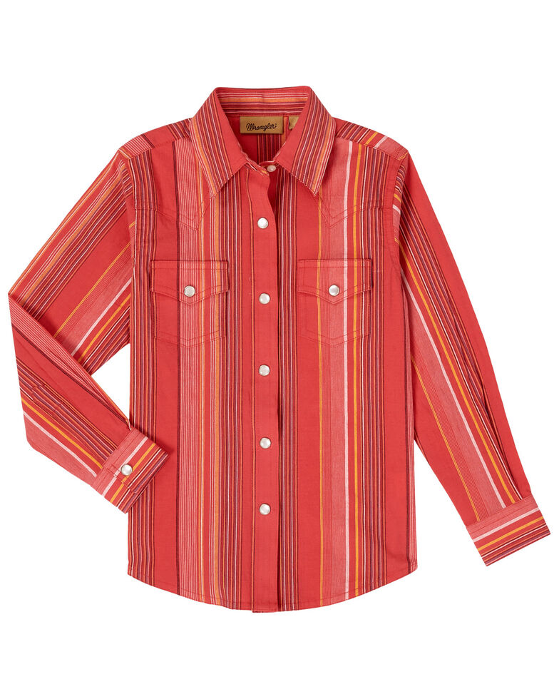 Wrangler Girls' Striped Serape Snap Long Sleeve Western Shirt , Red, hi-res