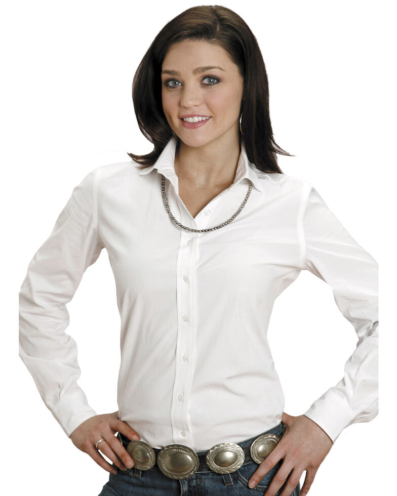 Stetson Women's End on End Solid Button-Down Long Sleeve Shirt, White, hi-res